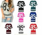 Ladies Womens Oversized 85 PRINT Varsity Baseball BAGGY T-Shirt TOP