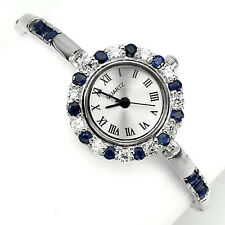 Sterling Silver 925 Stunning Round Faceted Genuine Sapphire Watch 7.5 Inch