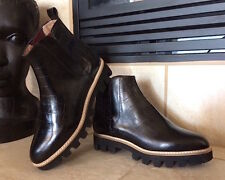 VC Signature by Vince Camuto Women Black Croco Boots NWOB Size 36 Made in Italy
