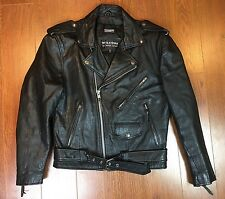 VTG WILSONS Leather Biker Jacket Black Size S Crust Punk