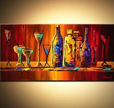 """Hand-painted abstract oil painting canvas,colorful wine bottles-24X48"""" NO FRAMED"""