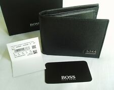 HUGO BOSS '50305581' 'MESUL' TRI FOLD BLACK SAFFIANO LEATHER NOTE COIN WALLET