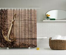Brown Wood Nautical Anchor Beach Fabric Shower Curtain Digital Art Bathroom