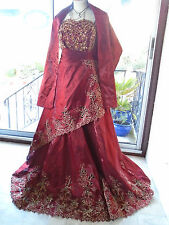 QUIRKY MEDIEVAL PAGAN PROM EXOTIC WEDDING DRESS 16 18 TAFFETA GOWN LARP