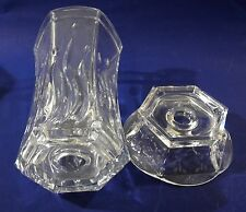 Clear Lead Crystal Glass Taper Candle Holder Lamp w Chimney Shade