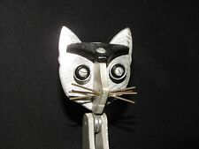 "Vintage hand-made J. Nestor 12"" silver-tone metal cat sculpture - One-of-a-Kind"