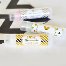 50 Personalized Rose Gold Copper Foil Lip Balm Anniversary Bridal Wedding Favor
