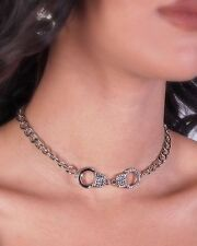 Handcuff Pendant Women w Austrian Crystal Necklace Silver Plated New