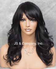 Heat Resistant OK Synthetic Wig Jet Black Long n Wavy with Side Skin Top JSHB 1