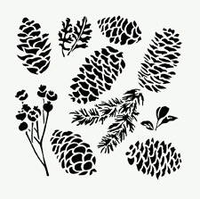 PINECONES STENCIL LEAF PLANT STENCILS PINE TEMPLATE CRAFT PAINT ART NEW BY TCW