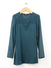 DKNY Womens Teal Silk Panelled Jersey Top Size XP/P (UK Size 8)