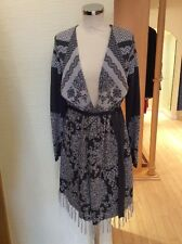Monari Cardigan Size 16 BNWT Grey Beige Patterned With Belt RRP £129 NOW £58