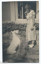 BM482 Carte Photo vintage card RPPC Femme Grand chien dog montagne des Pyrénéens
