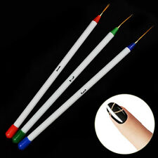 3 Pcs Nail Art Tips Tools Polish Pen Brush Drawing Stripe Liner DIY Nail Dotting