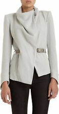 HELMUT LANG Sonar Drape Funnel Neck Wool Leather Belted Cardigan / Jacket 4 S