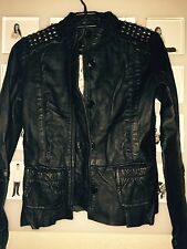 Girls Black leather Guess Jacket With Studs