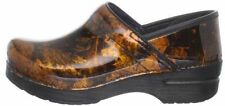 $150 Dansko Women's Pro Copper Leaf Patent Clog in Black EU 38 US 7.5-8