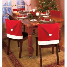 Santa Claus Red Hat Chair Back Cover For Christmas Dinner Table Decor New LU