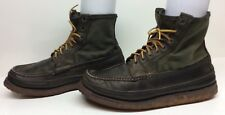 #M MENS W.C. RUSSELL WORK MOCCASIN LEATHER TEXTILE GREENISH BOOTS SIZE 11 D