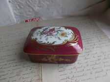 "French antique porcelain  box hand painted gold gilt marked ""Limogis"" France"
