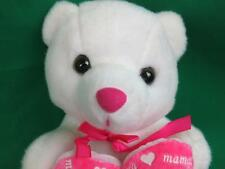 HAPPY MOTHER'S DAY SPANISH PINK WHITE TEDDY BEAR FELIZ DIA MAMA PLUSH STUFFED