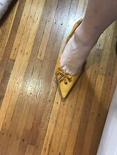 JIMMY CHOO LONDON YELLOW SUEDE SLINGBACK SHOES SIZE 37 1/2 US 7 $895 COMFY HEEL