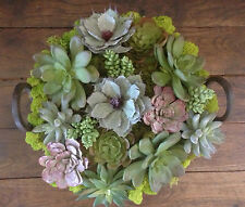 Smart Deco Zero Water Use - Faux succulents in vintage Iron Indian Kadai