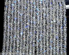 "R-1571 Natural Rainbow Moonstone Gemstone Rondelle Faceted Beads 10"" 1 Strand"