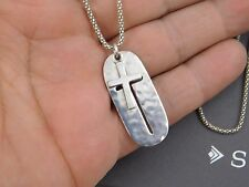 "NIB Silpada Sterling Silver Dog Tag Cross ""SYMBOL OF STRENGTH"" Necklace N2725"