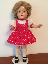 "Shirley Temple Doll, 1930's, sleep eyes, 16"" composition"