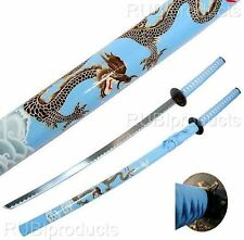 "40"" Katana Sword Light Blue DRAGON ART Carbon Steel Collectible Samurai Ninja"