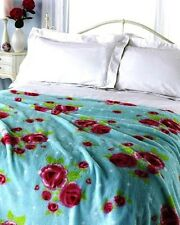 King Double Bed Luxury Soft Vintage Rose Microfleece Blanket Throw Bed Sofa Blue