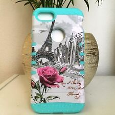 For iPhone 7 - Hybrid Rugged Armor Case Cover Mint Blue Paris Eiffel Tower Roses