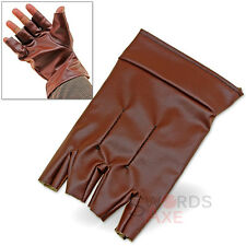 Steampunk Single Glove Open Finger Left Handed Felt-Lined Pleather Medieval
