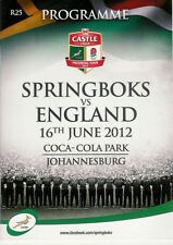 SOUTH AFRICA v ENGLAND 16 Jun 2012, 2nd TEST at Johannesburg RUGBY PROGRAMME