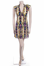 New Ladies Carbon Size 8 Yellow Jewel Print Pretty Floaty Summer Dress