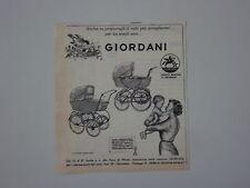 advertising Pubblicità 1962 PASSEGGINI CARROZZINE GIORDANI