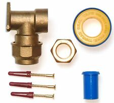 Brass 25mm MDPE Outside Tap Wall Plate Elbow With Accessories