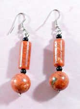 Vintage stunning chunky red sponge coral beaded drop earrings