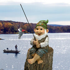 Ziggy The Fishing Gnome Sitter Statue Design Toscano Ziggy  Gnome  Fish  Fishing