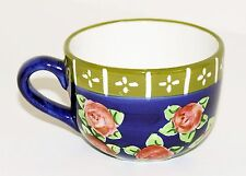 CRATE & BARREL Blue with Red Roses Ceramic Porcelain Mug Coffee Hot Chocolate
