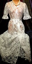 VINTAGE VICTORIAN PUFF SHEER BRIDAL WHITE ANTIQUE CHANTILLY LACE RIBBON ROBE S