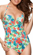 34A Gossard Egoboost Womens Plunge Multiway Swimsuit Tropical Print NEW  rrp £50