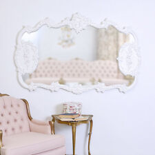 Shabby Cottage Chic Ornate White French Style Rose Mirror Rococo Ornate Large