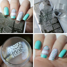 Nail Art Plaque de Stamping Arabesque & XL Marshmallow Tampon Clair en Silicone