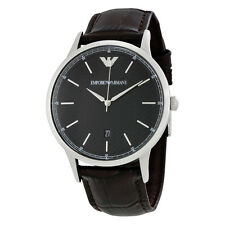Emporio Armani Dress Black Dial Leather Mens Dress Watch AR2480