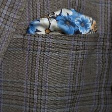 Mens Premium Blue Floral italian Style Silk Pocket Square / Handkerchief