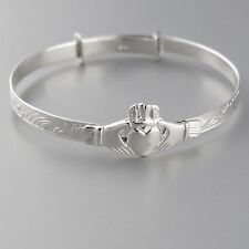 Baby Claddagh Adjustable Bangle Bracelet - 925 Sterling Silver - Celtic Irish