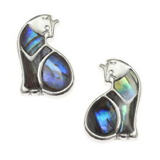 Green / Blue Two Tone Paua Shell Cat Silver Stud Earrings