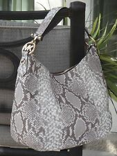 MICHAEL KORS FULTON LARGE ZIP SHOULDER HOBO BAG SNAKE DARK SAND LEATHER $378